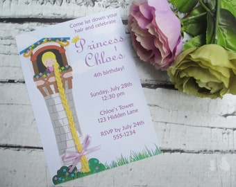 Rapunzel Princess Birthday Party Custom Invitations - Let Down Your Hair Collection