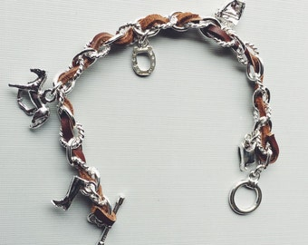 Equestrian Charm Bracelet Horse, Silver Equestrian Gifts, Horse Gifts