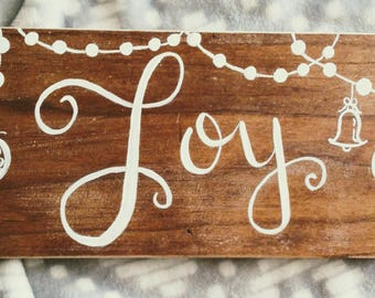 Joy wood sign farmhouse Christmas decor hand lettered hand painted