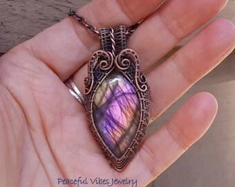 Purple Labradorite Necklace Wire Wrapped Labradorite Pendant Wire Wrap Handmade Boho One Of A Kind Artisan Jewelry
