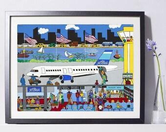 New York Art - JetBlue Airlines Art - New York Gift - NYC Art Print - Pat Singer's New York