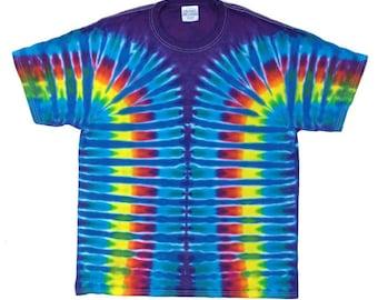Tie Dye T-Shirt - Stripes Cerulean Plum
