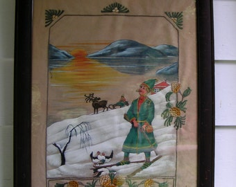 30s 40s Scandinavian FOLK ART Flannel Painted Embroidered Mahogany Frame Large Unique and Awesome