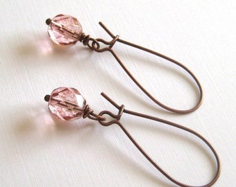 Vintage Pink Sunset Dangle Earrings