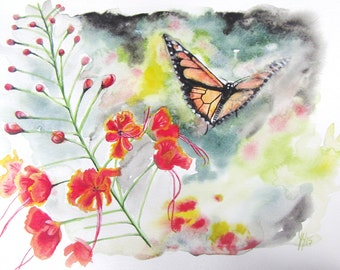 "Monarch Butterfly with Flower Painting 11""x15"""