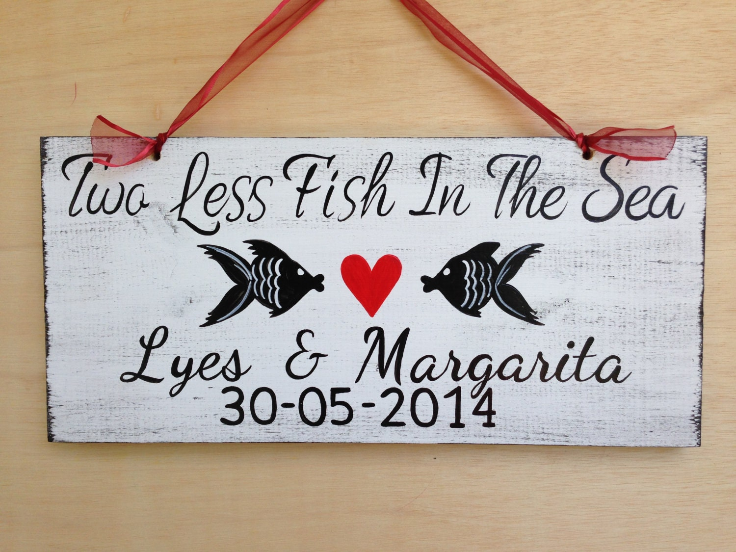 Two Less Fish In The Sea Wedding Name Sign, Beach Wedding Decor ...