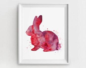 Rabbit Print, Digital Bunny, Rabbit Prints, Digital Rabbit, Bunny Home Decor, Baby Bunny Decor, Watercolor Rabbit, Bunny Painting, Large Art