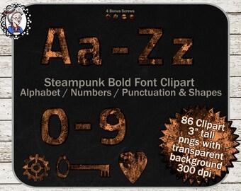 Steampunk Alphabet Clipart: Digital Alphabet Clip Art, Steampunk Letters / Numbers, Steampunk Clipart, Scrapbooking steampunk clip art Bold