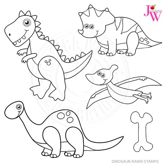 Dinosaur Rawr Stamps Dinosaur Black and White Line Art