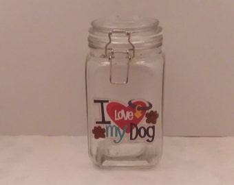 I Love My Dog Treat Jar