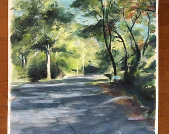 Pond View Drive - Gouache Painting