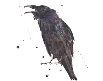 Raven Art Print, Goth Gift, raven, gift for the bird lover, watercolor,
