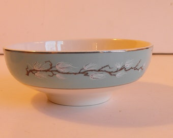 CLEARANCE - Three Rice Bowls Teal Handpainted Branch with White Sprigs     (732)