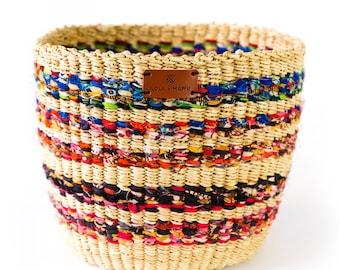Fairtrade Vegan Bolga Basket - HIBISCUS - Recycled basket
