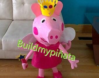 """Peppa the pig piñata,3D, 32"""" tall"""