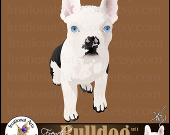 French Bulldog Graphics set 1 INSTANT DOWNLOAD with 2 digital graphics