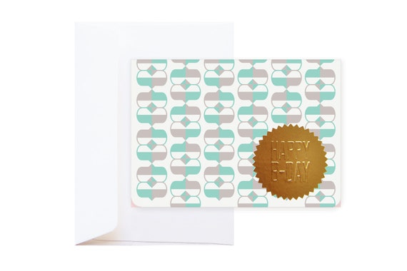 Ulysses Happy Birthday Greeting Card (incl.envelope) // feat. Abstract Graphic Pattern & Gold Embossed Sticker