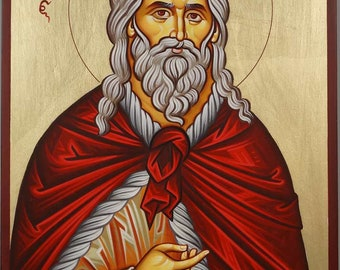 Prophet Elijah Elias Hand-Painted Byzantine Orthodox Icon on Wood 28cm x 20cm