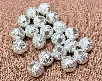 6mm Round Silver Stardust Beads, 20 Pieces, Large Hole Metal, 6mm Silver Metal, 6mm Stardust, 6mm Silver Stardust Bead, Big Hole Metal Bead