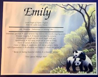 Panda Bears Artwork Name Meaning Print