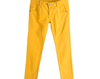 Jeans trousers girls, Jeans trousers toddler girls, Jeans trousers junior, Jeans mustard colored , Jeans kids trousers