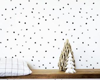 Kids Wallpaper, Shelf Adhesive Wallpaper, Removable Wallpaper, Abstract Black Dots Wallpaper, Nursery Wallpaper, Monochrome. Dots Wallpaper