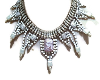 BETROTHED gold, ivory, white and pearl hand painted rhinestone super statement necklace