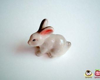 Grey Rabbit Figure, ceramic rabbit, miniature rabbit, bunny figure, white, gray, hare, ceramic animal, mini, little, summer, iammie