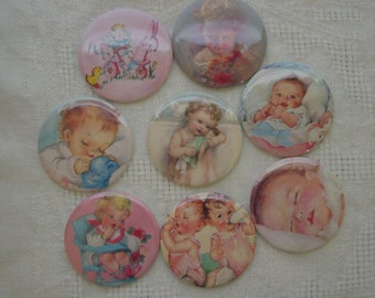 Baby Shower Favors Vintage Babies 2.25 inch Mirrors Set A,  Set of 12 Your Choice