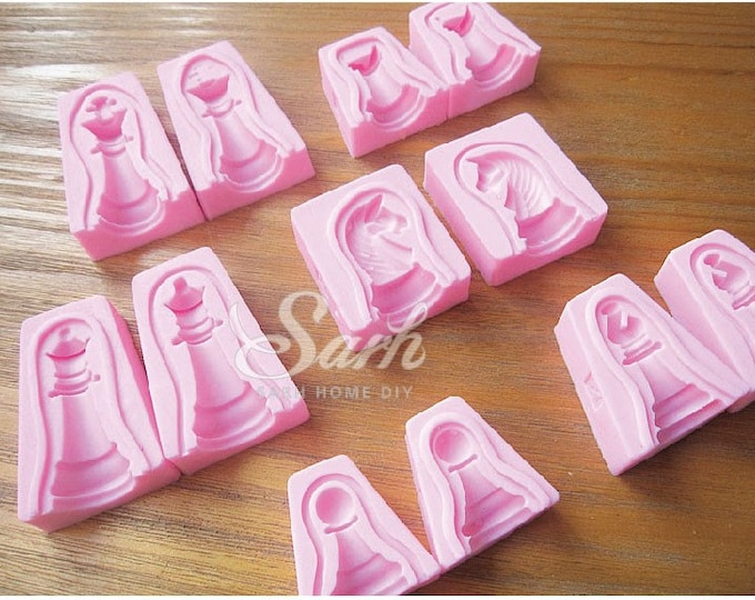 Chess 3D Set Silicone Mold -  Baking Fondant Candy Royal Icing Chocolate Jelly Candle Soapmaking Gum Paste