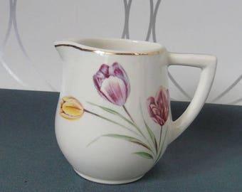 Pot céramique peint- pot à lait-pot à crayon-shabby chic-cadeau-gift-tulipe-fleurs-végéaux