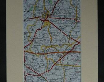 jaren 1980 vintage Belgische kaart van Sint-Truiden, beschikbaar omlijst, België/kunst, Celles Gift, Limburg Decor, Borgworm kunst aan de muur, Braives Artwork