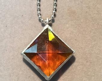 Amber chandelier crystal pendant