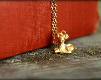 Sitting Fawn Necklace, Available in Silver and Gold, Woodland Animal, Baby Deer Necklace, Fawn Doe Forest Nature