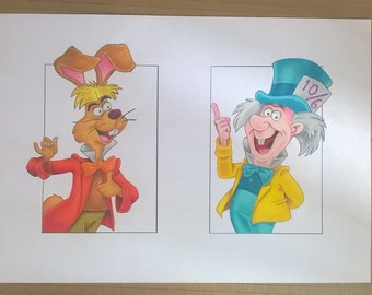 Mad Hatter and March Hare original prismacolour drawing