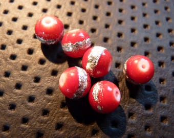 Painted acrylic striped beads 8 mm X 10