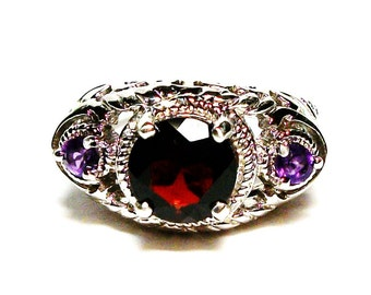 "Garnet ring, amethyst garnet,  engagement ring,  3 stone ring, purple red, anniversary ring, s 6   ""Pulled out a Plum"""