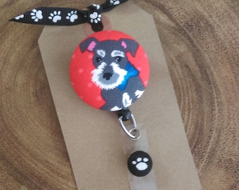 Schnauzer, Dog, Badge Reel, Retractable Badge Reel, Puppy, Scout and Remy Badge Holder, RN, LPN