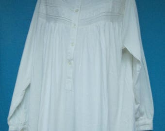 Vermont Country Store 100% Cotton White Nightgown Size L