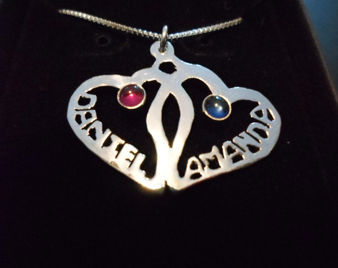 """2 hearts 2 names 2 birthstones Half dollar size w/20 """"sterling silver chain"""