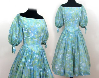 Vintage Garden Party Dress -1950s-60s 3 layer full skirt - abstract blue & green pastel floral - Sm