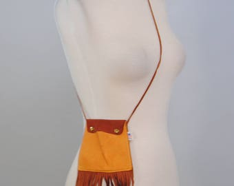 Vintage Buckskin Pouch 70s Boho Fringe Leather Shoulder Festival Crossbody Purse