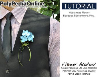 SALE! Polymer Clay Tutorial, DIY Jewelry, Flower Pin, DIY Flower, Clay Flower, Polymer Clay Bead, Flowers Tutorial, diy Handmade Bead, Video