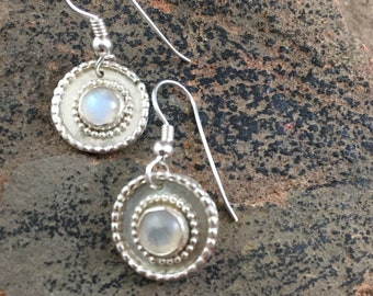 Moonstone Babies on Sterling Silver Discs