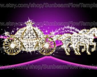 INSTANT DOWNLOAD - Cinderella wedding carriage 01 clip art PNG elements Digital lady girl Images Scrapbooking Scrap kit Invitations pyo diy