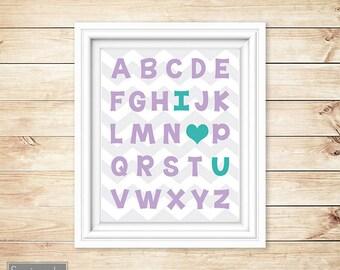 I Love Heart You Alphabet Teal Purple Learning Tool Wall Art Nursery Girl's Room Decor ABC's Printable 11x14 Digital JPG Instant Download 54