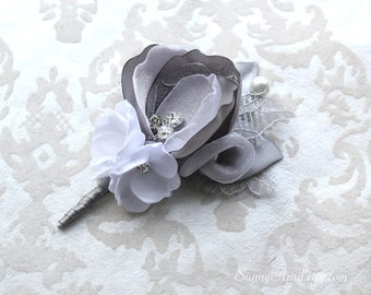 Gray White/ Ivory Boutonniere/ 7 available/ Mens Lapel Pin/ Handmade Wedding Accessory