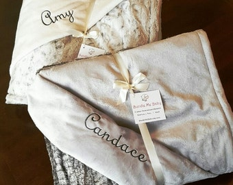 Hospital Gift Comfort for a Friend - Faux Fur Minky Throw - Adult Size EXTRA LARGE Grey Black White Brown Neutral Bedding