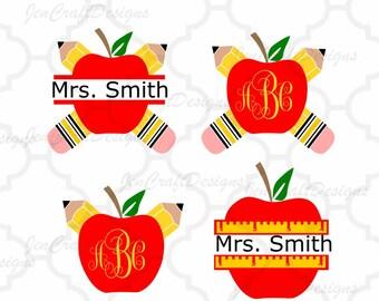 Pencil Apple Teacher Monogram SVG Frames, School Svg Cut Files, svg, dxf,Studio3,eps, png Graduation monogram frame, appreciation Bundle