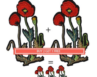 Iron On Embroidered Red Roses, Flowers Patches Appliques, Poppy Flower Patch